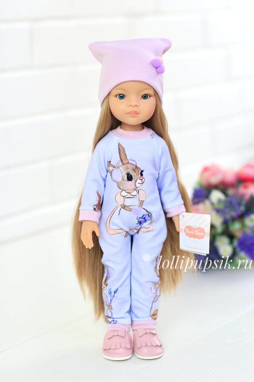 Кукла Маника Рапунцель с длинными волосами в голубой одежде  (Паола Рейна), 34 см