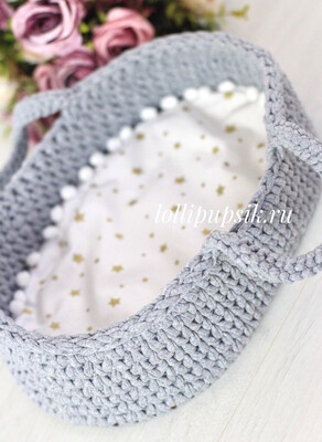 Плетёная переноска для кукол до 26 см, цвет серый