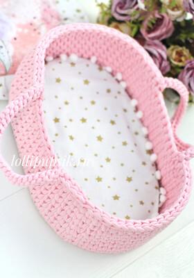 Плетёная переноска для кукол до 26 см, цвет светло-розовый