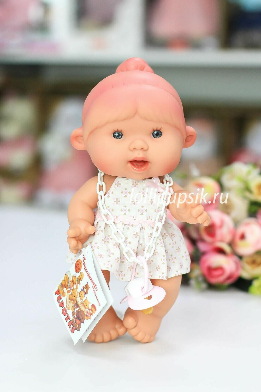 Ванильный пупс Nines d'Onil Девочка с розовой челкой и одним хвостиком - 26 см