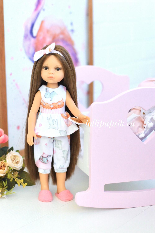 Кукла Кэрол Рапунцель с длинными волосами в пижаме с зайками (Паола Рейна), 34 см