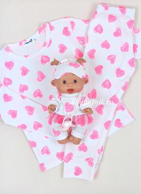 Фэмилилук пижамы «Сердечки» на девочку и куколку