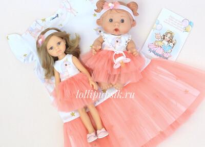 Фэмилилук «Единороги», платье на девочку + платье на куколку