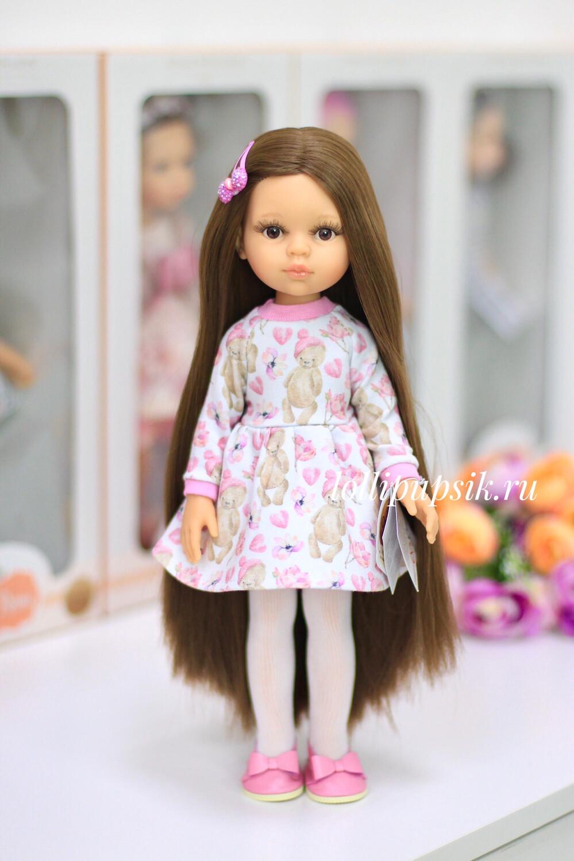 Кукла Кэрол Рапунцель с длинными волосами в платье с мишками (Паола Рейна), 34 см