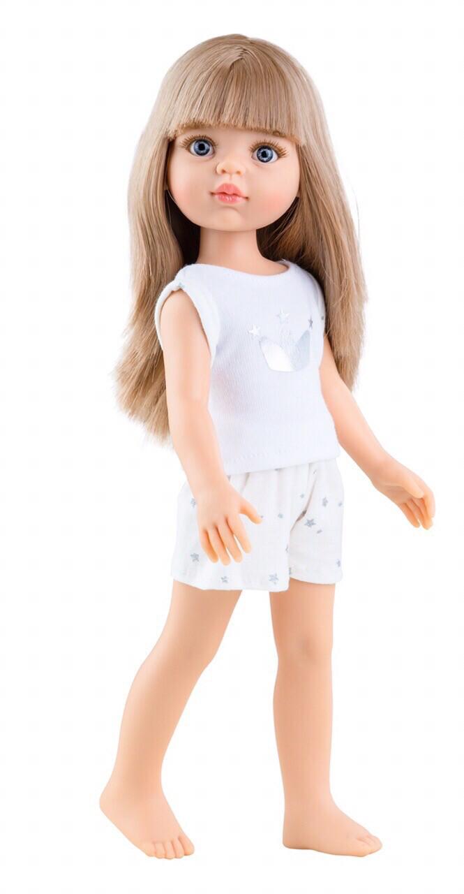 Кукла Карла с челкой в пижаме, с серыми глазами (Паола Рейна), 34 см