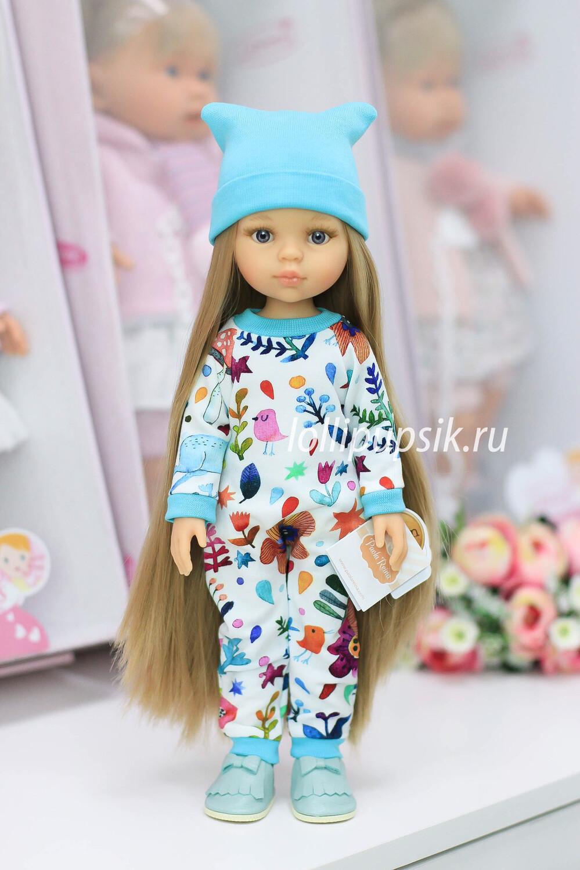 Кукла Карла Рапунцель с серыми глазами в стильном комбинезоне, Паола Рейна , 34 см