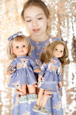 Фэмилилук «Оленята», платье на девочку + платье на куколку