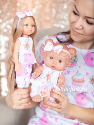 Фэмилилук «Зайки», комплект на девочку + комплект на куколку