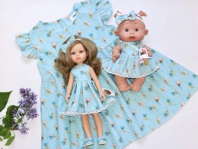 Платье летнее «Цветы на голубом»