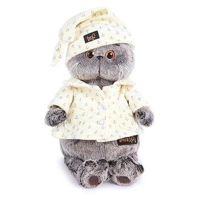 BUDI BASA Мягкая игрушка Кот Басик в пижаме - 25 см в положении сидя