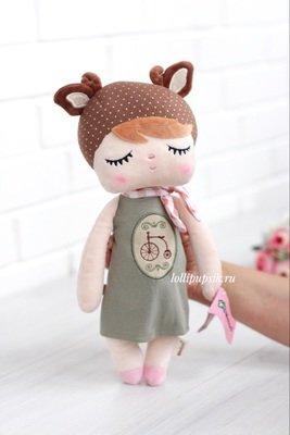 Мягкая игрушка Metoo Сплюшка Angela Retro с ушками оленя в платье - 42 см