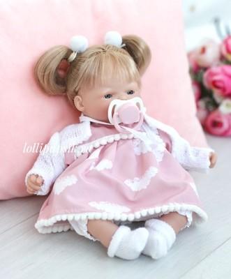 Куколка мягконабивная в платье с облачками, 26 см