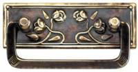 (OUT OF STOCK) - Antiqued Stamped Brass Art Nouveau Drawer Pull Roses AB-0634