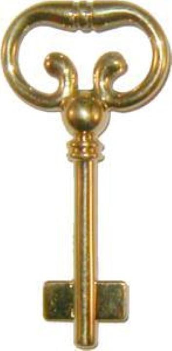Blank Key for Roll Top Desk Lock - Brass Polished Skeleton Antique B-1977