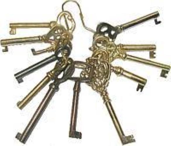Set of 12 keys Polished Skeleton Antique lock trunk steamer chest M-1999