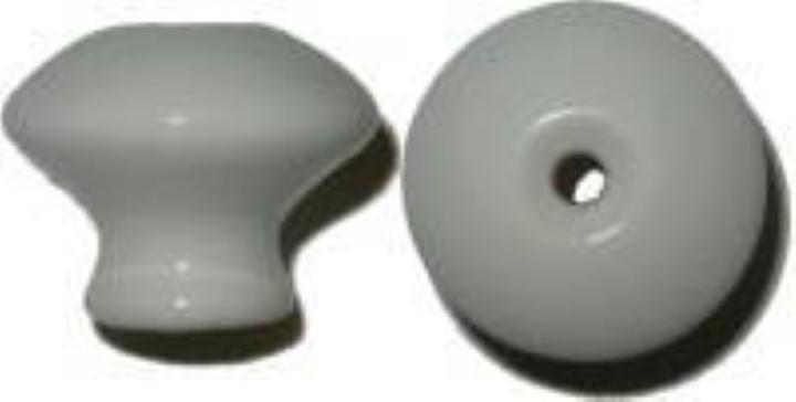 """White Porcelain Round Knob - 1 1/4"""" P-0395"""