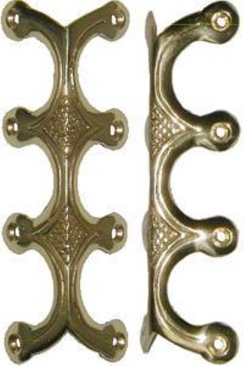 Solid Brass Quadruple (4) Legged Trunk Edge Clamp antique chest steamer vintage old edge elbow decorative B-4534