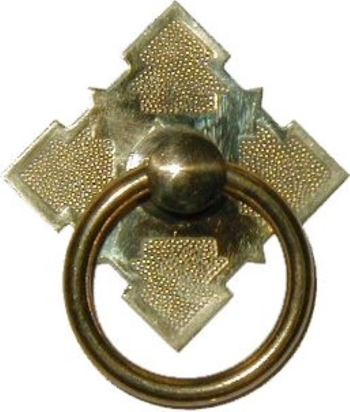 Eastlake Victorian Style Brass SINGLE POST RING PULL B-1204