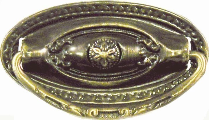 Depression Era Single Post Pull - Antiqued Brass AB-1223