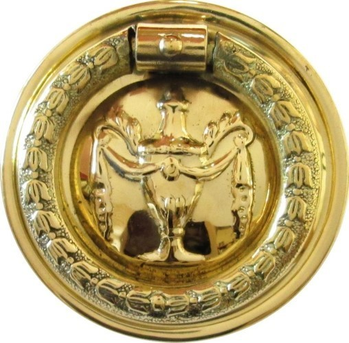 "Hepplewhite/Sheraton Style Stamped Brass ""Urn"" Round SINGLE POST RING PULL B-1241"