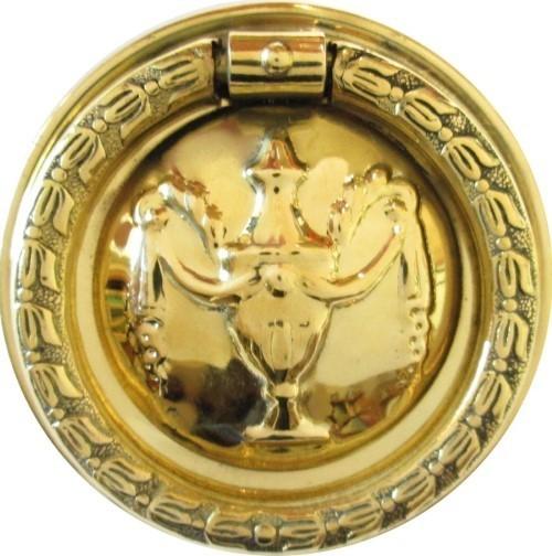 "Hepplewhite/Sheraton Style Stamped Brass ""Urn"" Round SINGLE POST RING PULL 2"" B-1251"