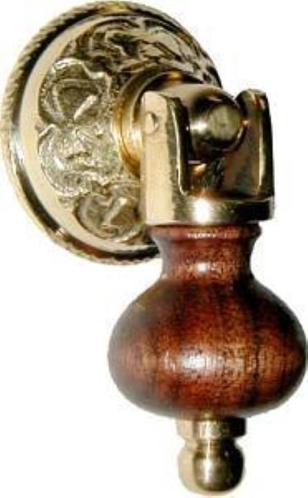 Eastlake Single Post Small Teardrop Pull - Brass & Wood BW-1272