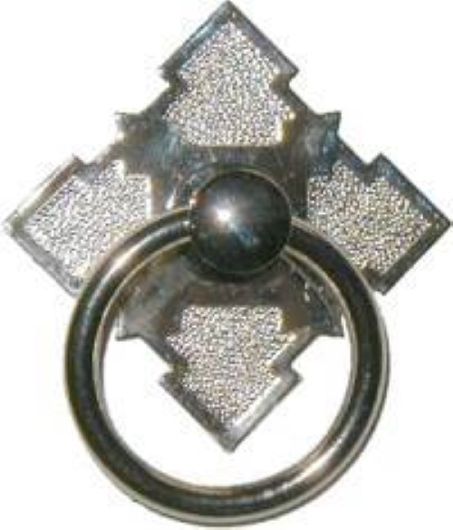 Eastlake Victorian Style Nickel Plated Brass SINGLE POST RING PULL N-1204