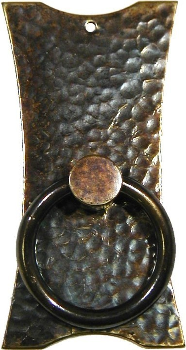 Antiqued Hammered Brass Mission Style Single Post Pedestal Pull - Flared AB-1240