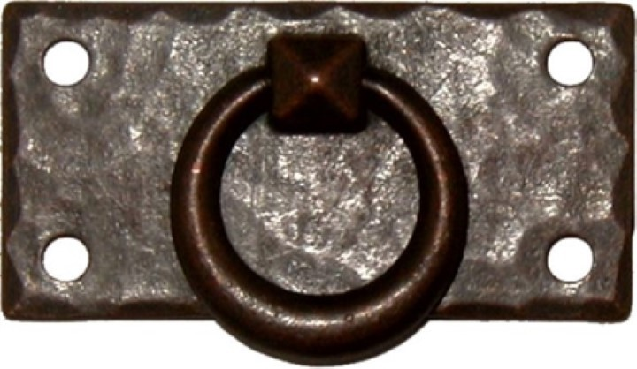 Hammered Forged Brass Mission Style Horizontal DRAWER PULL with Antique Copper Finish AC-0639