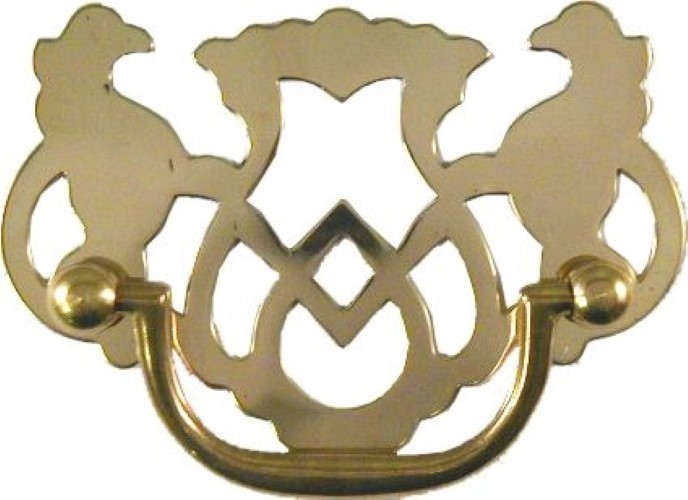 Stamped Brass Openwork Chippendale Style Drawer Pull B-0671