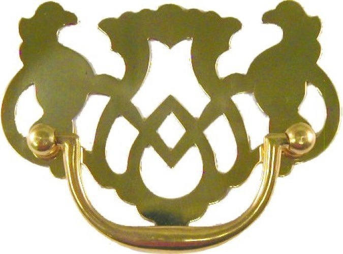 Stamped Brass Openwork Chippendale Style Drawer Pull B-0681