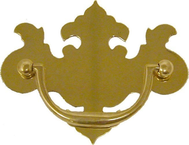 Polished Stamped Brass Chippendale Style Drawer Pull B-0687