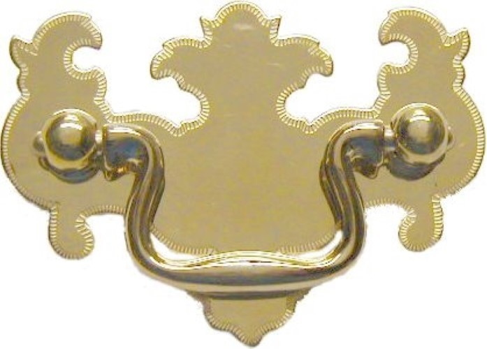 """Chippendale Style Bat Wing Drawer Pull 2"""" Brightly Polished Stamped Brass Backplate with Cast Brass Bail & Eyebolts LS-120"""