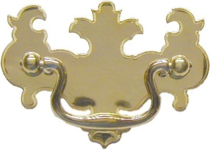 "Chippendale Style Bat Wing Drawer Pull 2 1/2"" - Brightly Polished Stamped Brass Backplate with Cast Brass Bail & Eyebolts LS-121"