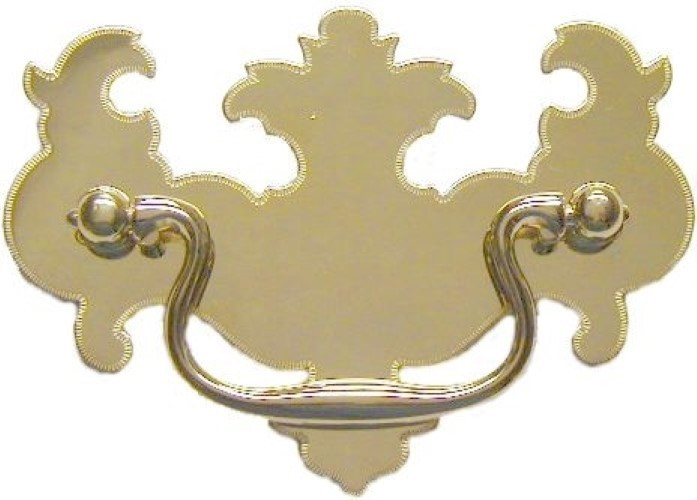 "Chippendale Style Bat Wing Drawer Pull 3"" - Brightly Polished Stamped Brass Backplate with Cast Brass Bail & Eyebolts LS-122"