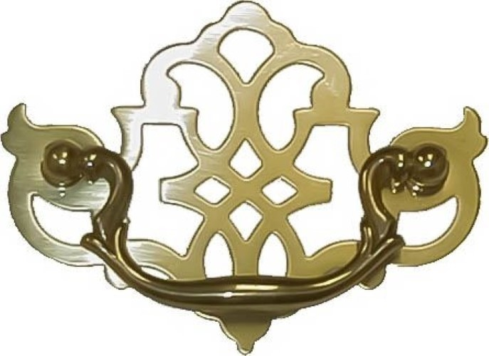 Polished Brass Chippendale Style Pierced Drawer Pull B-0651