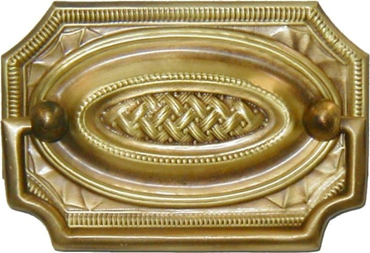 Antiqued Stamped Brass Hepplewhite Drawer Pull  Basketweave LS-133