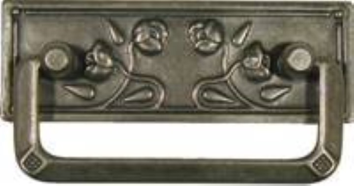 Stamped Brass Art Nouveau Drawer Pull with Pewter Finish Roses PW-0634