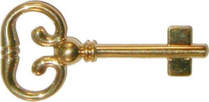 Blank Key for Roll Top Desk Lock - Brass Polished Skeleton Antique