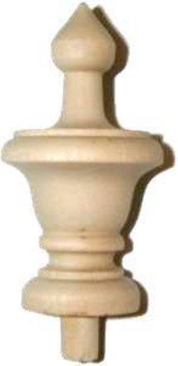 "Turned Hard Wood Finial - Hardwood - 3.5"" W1-6209"