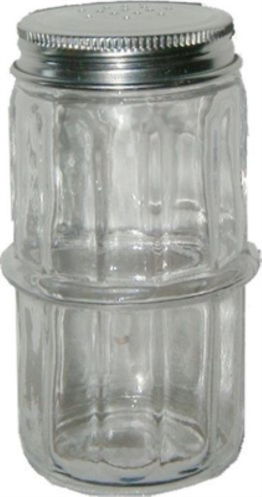 (OUT OF STOCK) -- Hoosier Spice Jar - Clear Glass rack, shaker, vintage, antique C-1560