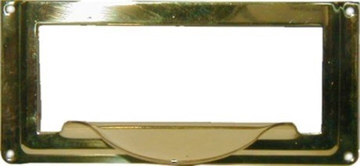 File Cabinet Card Holder with Pull - Brass drawer label antique new B-3138