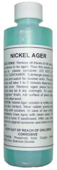 8oz. (ounce) Nickel Ager Darkening Solution metal patina, antique vintage old dull NA-3498