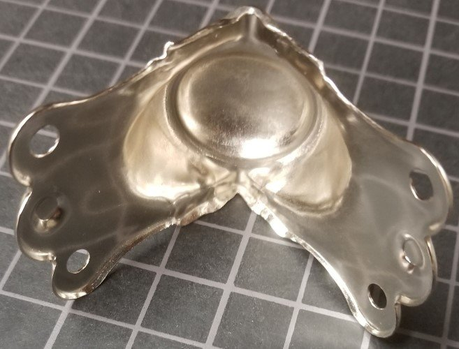 Nickel Plated Trunk Knee Clamp -  Antique chest steamer vintage new edge
