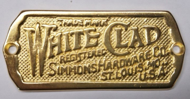 Polished Brass Cast White Clad Ice Box Name Plate