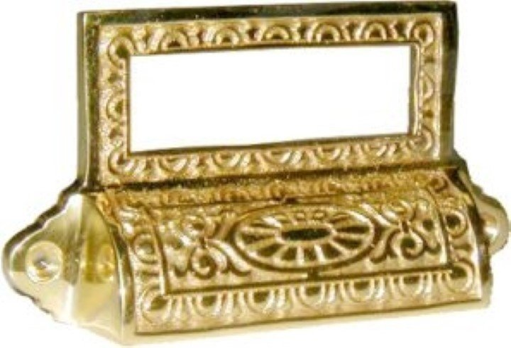 Victorian Style Cast Brass BIN PULL with CARDHOLDER vintage antique retro B-1374