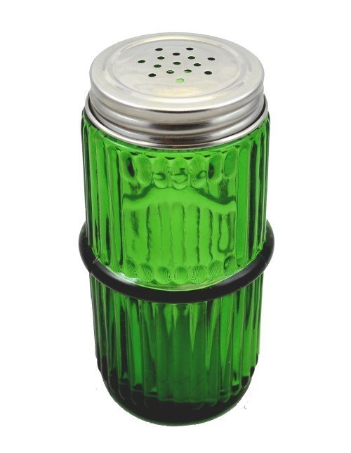 Green Mission Style Glass Spice Jar with Lid - Hoosier, Sellers cabinet antique vintage rack C-1555-G