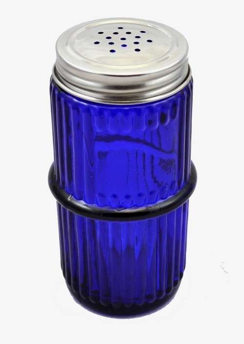 Blue Mission Style Glass Spice Jar with Lid - Hoosier, Sellers cabinet antique vintage rack C-1555-B