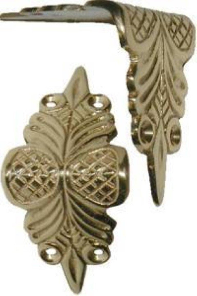 Solid Brass Fancy Trunk Knee Clamp chest steamer antique vintage old corner edge decorative piece B-4570