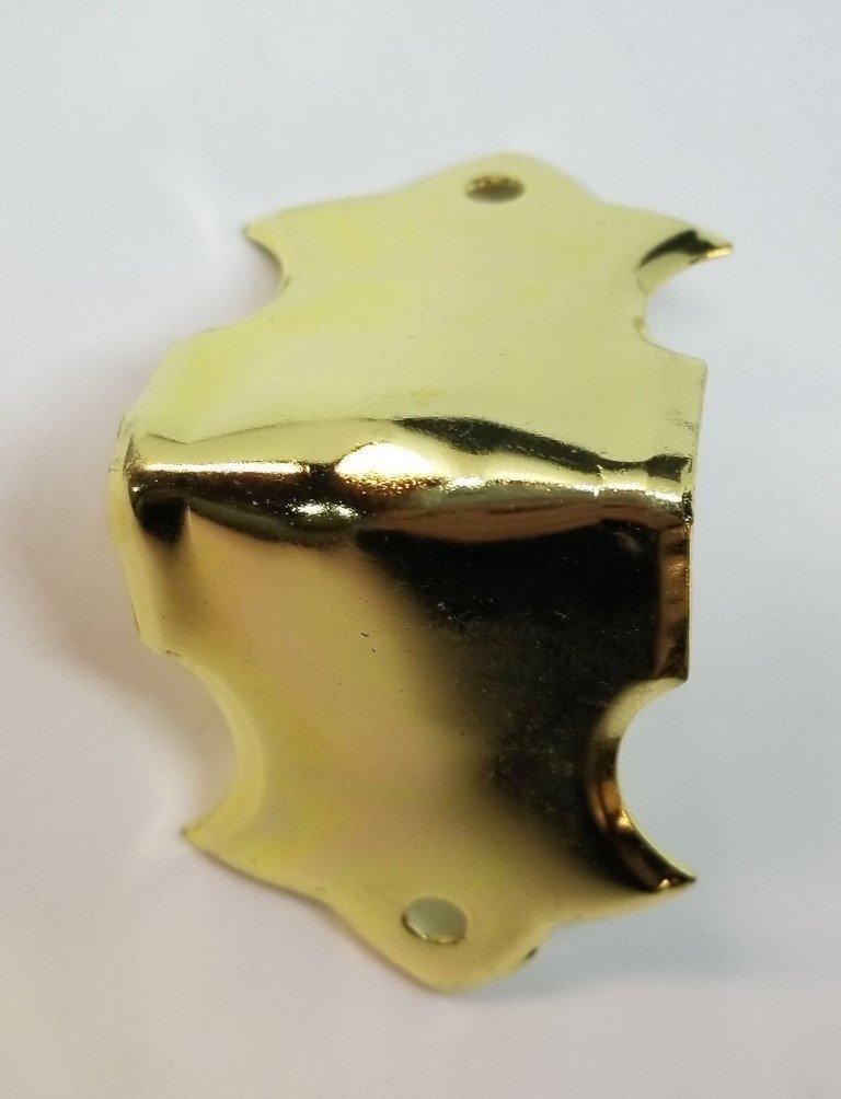 Brass Plated Stamped Steel Trunk Knee Clamp chest steamer antique vintage old corner edge decorative piece